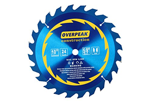 - OVERPEAK 10 Inch 24 Tooth Circular Saw Blade ATB General Purpose Carbide Miter Saw Blades with 5/8Inch Arbor
