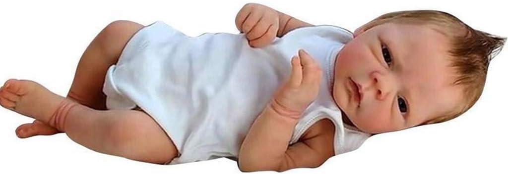 lijun 18 Pulgadas Realista Muñecas Reborn bebé, Silicona de Cuerpo Entero Reborn Baby Doll Muñeca recién Nacida Hecha a Mano Muñeca de Cuerpo Completo de Silicona