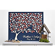 3d Custom Alternative Wedding Guest Book Love Tree Customizable Unique Guestbook Coral Leaves Rustic Wedding Rustic Wooden Tree Of Life 40x50cm