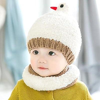 969c5e77b YINGER Sombreros y Bufandas para bebés Invierno Tejido de Punto Lindo  diseño de pájaro Mantener Caliente Adecuado para niños y niñas