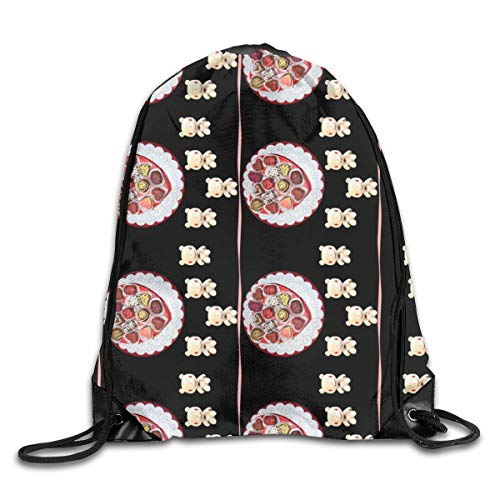 Chocolate Platter And Chocolate Bunny Lace (in Black Colorway) Drawstring Shoulder Bags Gym Bag Travel Backpack Lightweight Gym