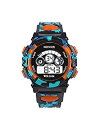 TOOPOOT® Waterproof Children Boy Multifunction Sports Electronic Wrist Watch (Orange1)