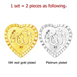 2 Pcs Brooches For Women Heart Shaped Brooch Allah Muslim Jewelry 18K Gold Platinum Plated Corsage Suit Accessories