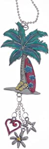 Ganz Colorful Palm Tree and Surf Board Car Charm