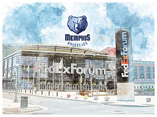 (Art Memphis Grizzlies Poster Arch Rendering Print 12x16 Wall Decor)