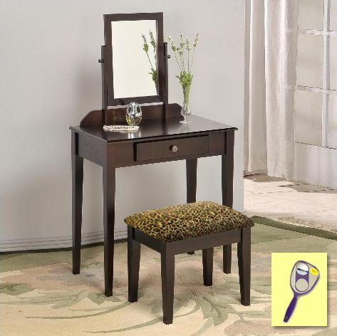New Cappuccino / Espresso Finish Make Up Vanity Table with Mirror & Cheetah Animal Print Themed Bench by The Furniture Cove