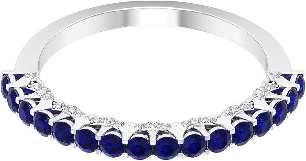 Anillo de media eternidad de zafiro azul certificado de 0,80 ct, anillo de promesa de diamantes antiguos de 0,16 ct, 10K Oro