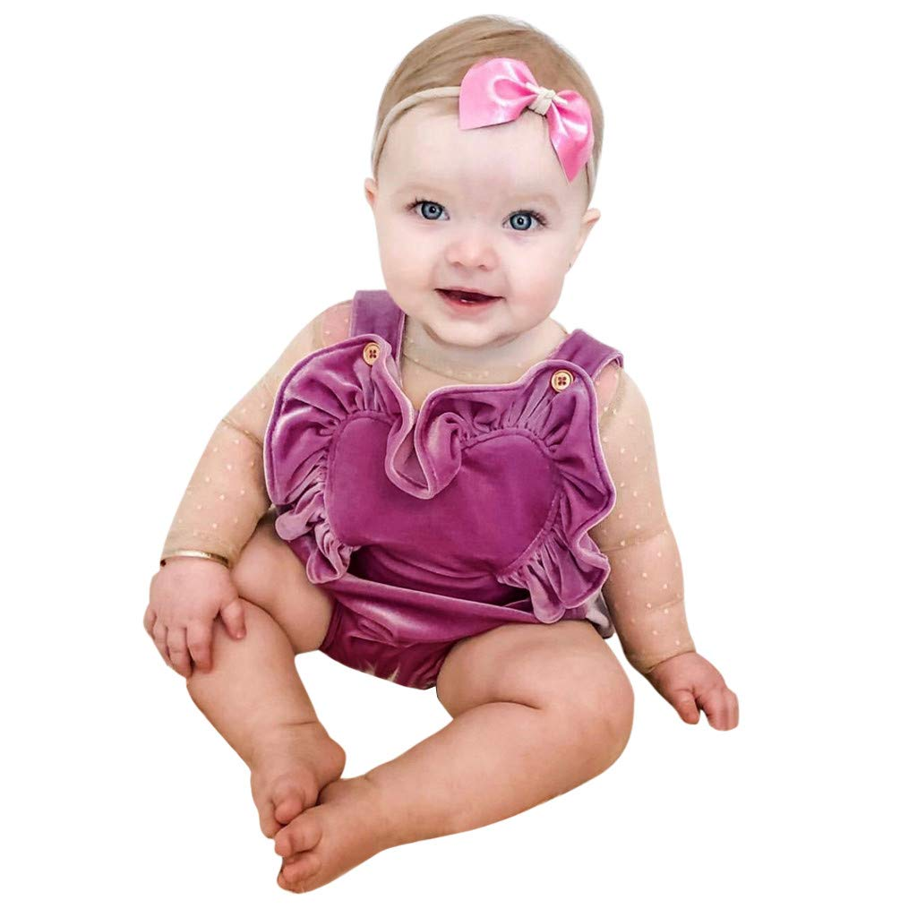 NUWFOR Newborn Infant Baby Girls Color Solid Ruffles Backcross Romper Bodysuit Outfits(Purple,6-12 Months)