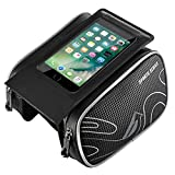 Bike Bag, Mpow Professional Cycling Frame Pannier Bicycle Bag Waterproof Bike Front Frame Bag iPhone 7,iPhone 6,iPhone 5s,Samsung S4 With Touch Screen Phone Case,Rain-Resistant and Breathable,Premium Nylon Material,Large Capacity for Storage,Compatible for 5.7 Inches,Black