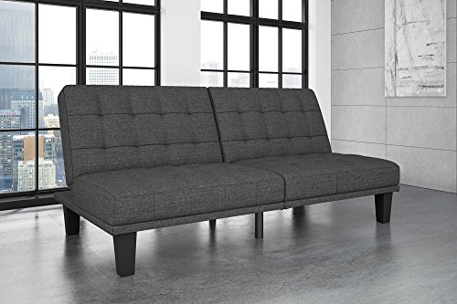DHP Dexter Futon and Recliner Lounger, Multi-Functional Sofa for Small Spaces, Grey -