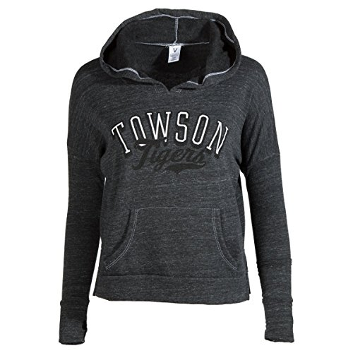 Official NCAA Towson University Tigers TU Doc the Tiger HAIL TOWSON! Women's Cropped Fit Fleece Pullover - Fit Towson