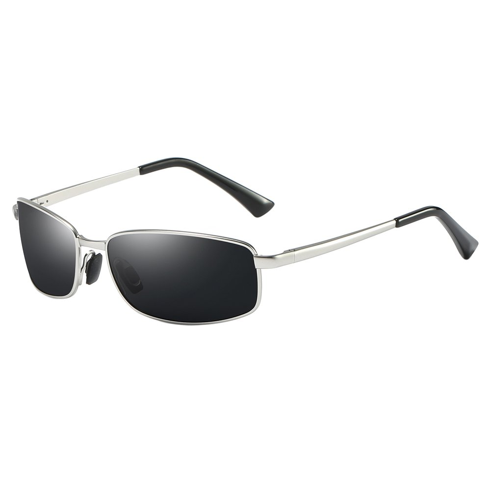 Wrap Polarized Sunglasses Rectangular Metal Frame Classic Style Large Size by ZHILE (Silver, Grey)