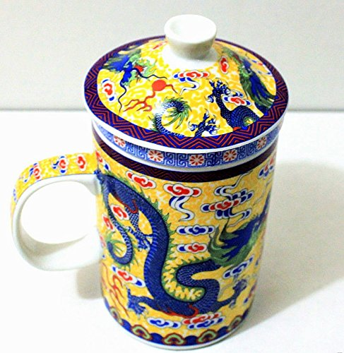 YELLOW Dragon Ceramic Porcelain Tea Cup Coffee Mug with Infuser and Lid New