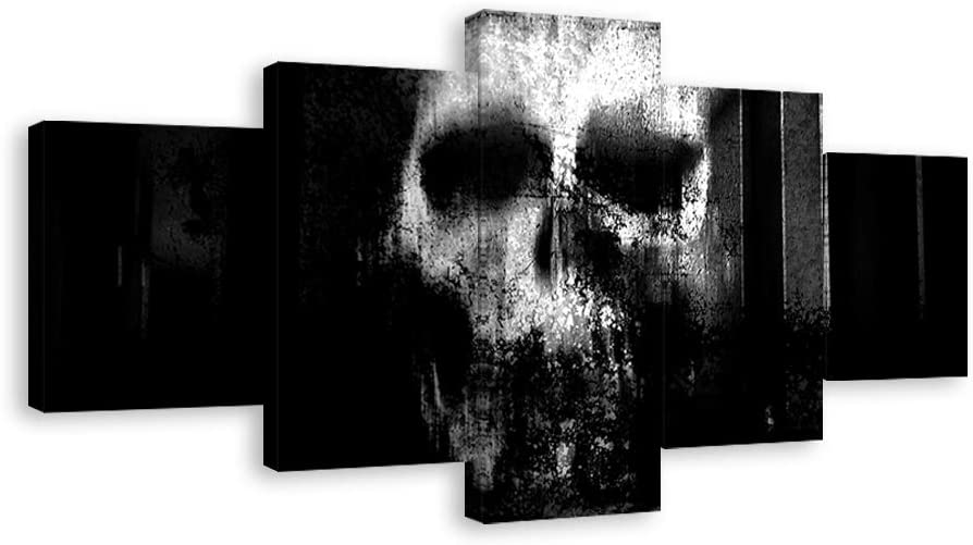 """Halloween Day Skull Canvas Wall Art Abstract Black and White Print Home Decor for Living Room Contemporary Pictures 5 Panel Large Poster Decal Painting Framed Ready to Hang (60""""Wx32""""H, Artwork-02)"""