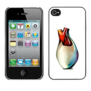 LECELL--Funda protectora / Cubierta / Piel For Apple iPhone 4 / 4S -- Heart Of Glass Vase Art 3D White --