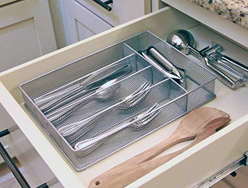 Yesker 5 Compartment Mesh Small Cutlery Tray with Foam Feet - Kitchen Organization/Silverware Storage Kitchen Utensil Flatware Tray