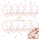 Artisology Rose Gold and Pink 18'' Confetti Balloons |10 PACK| GLAM special event like baby gender neutral or baby shower, bridal shower decorations (PREFILLED)