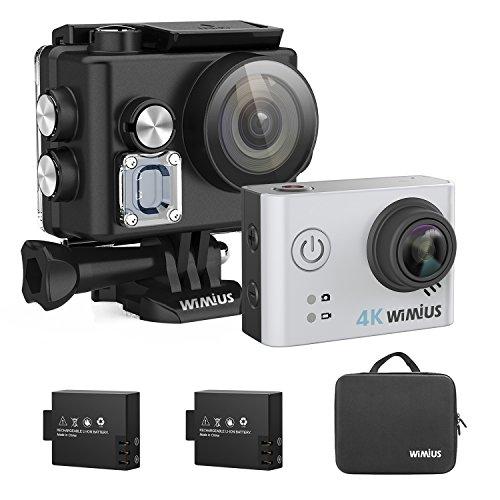 Helmet Camera, Underwater Camera 4K Action Camera Wifi HD Waterproof Sports Cam for Bike/Motorcycle/Diving (Silver)