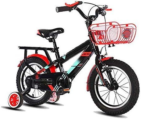 YSA キッズバイクベビーカー男の子用自転車バスケット付き、12/14/16/18インチバイクトレーニングホイール付き、子供向けギフト、男の子用自転車新生児用