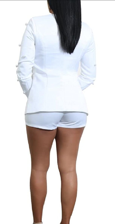 omniscient Women Blazer Suit Set Pearls Beaded 2 Piece Outfits Jacket Shorts Clubwear