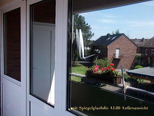 Spiegel Spion Fenster UV Folie Silber7,23€/m² Selbstklebend 152 cm breit (Silber 1mx152cm)