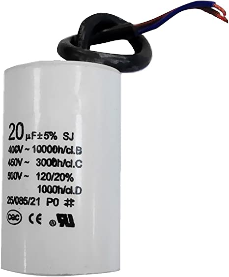 gazechimp Motore Cilindrico CBB60 20uF Condensatore Di Marcia Condensatore Cilindrico CA 500 V