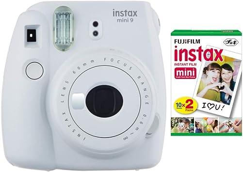 Fujifilm Instax Mini 9 Instant Camera Smokey White And Instax Film Twin Pack 20 Exposures Bundle Camera Photo