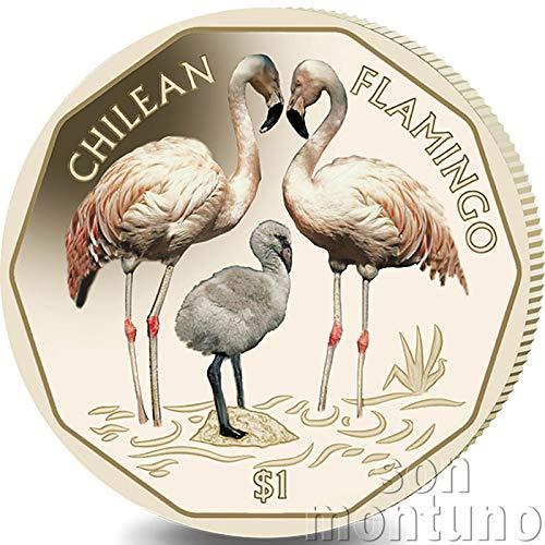 CHILEAN FLAMINGO - 2019 British Virgin Islands VIRENIUM One Dollar Coin $1 - Third Coin of New Flamingo Series