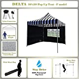 10'x10' Pop up Canopy Wedding Party Tent Gazebo EZ Black Stripe - F Model Commercial Frame By DELTA Canopies