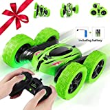JYToyz RC Stunt Car, Kids Toys Remote Control Racing Car 4WD Double Sided 360° Spins and Flips with LED Lights Driving Cars Toys for Kids Toddlers (Green)