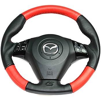 CORKSPORT 2007-2009 Mazdaspeed 3, 2004-2009 Mazda 3 - Performance Leather Steering Wheel - Red Inserts (AXE-9-342-12)