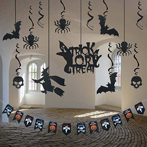 Halloween Ceiling Hanging Decoration Chandelier Swirl Kit Banner, Trick or Treat Party Supplies Photo Props, Glitter Bat Witch Crow Spider Skull Scary Pumpkin Ghost Set for Birthday Bars Haunted House ()