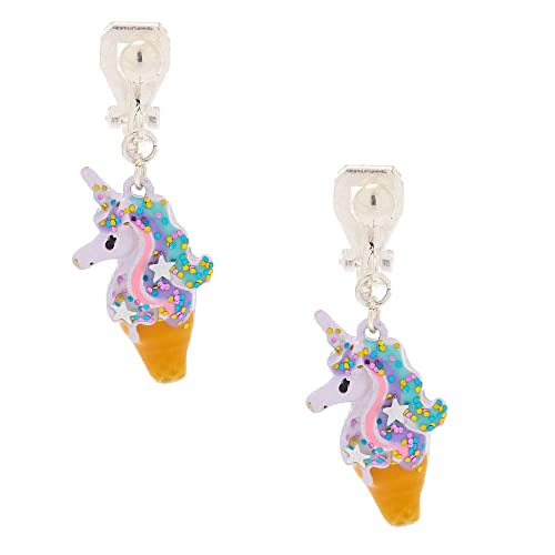 Claire/'s Girl/'s Glittery Sweet Unicorn Clip-on Stud Earrings in Pink//White