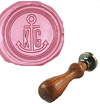 MDLG Custom Anchor Your Double Initials Monogram Letters Vintage Personalized Picture Letter Logo Wedding Invitation Wax Seal Stamp Rosewood Handle Set