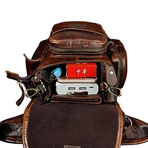Genda 2Archer Bolso de Cuero de Múltiples Funciones del Mensajero Bolsa de Viaje Bolsa Tracolla (30cm * 12cm * 22cm) (Gris) Café