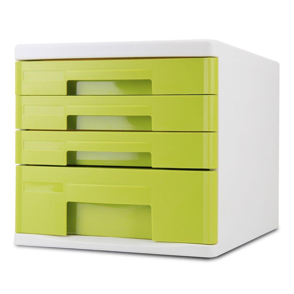 Gabinetes de Archivos Verdes Office 4 Layer Almacenamiento Desktop Drawer Caja de Almacenamiento Layer de Datos YHH 28353b