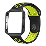 Fitbit Blaze Bands, UMTELE Sport Silicone Replacement Strap with Black Frame for Fitbit Blaze Smart Fitness Watch Black/Yellow