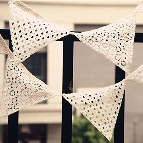 Kicode Lace Thicken Macrame Triangle Flag Wedding Decor Colors Bunting Banners Pennant Party Bar
