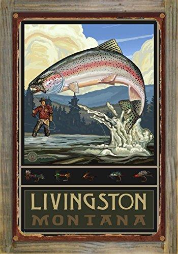 Livingston Montana Rainbow Trout Fisherman Hills Rustic Metal Print on Reclaimed Barn Wood by Paul A. Lanquist (12