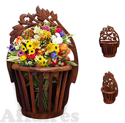 Wooden Wall Hanging Flower Vase Basket Interior Design Decorative, Christmas or Valentine's Day Gift by Affaires ()