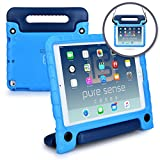 Apple iPad Air 1 - iPad 9.7 2017 case - [World's First Anti Microbial Case for Kids] PURE SENSE BUDDY Rugged Children Protective Boys Cover + Shoulder Strap - Handle - Stand - Cleaning Kit (Blue)