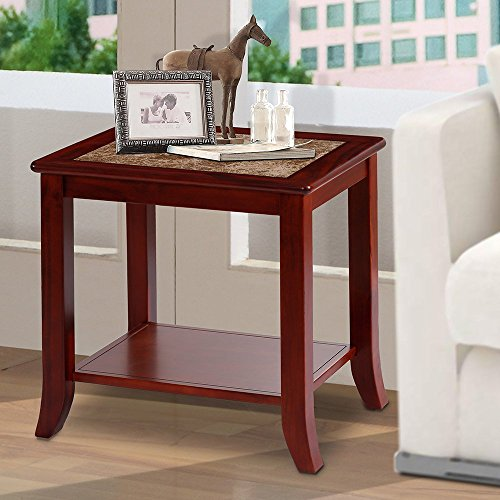 "PrimaSleep PR22TB02D 22"" H Natural Marble Top & Solid Wood Base, Coffee Side End Sofa Table, Light Brown"