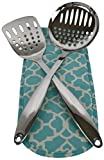 Crate and Barrel Kitchen Crate & Barrel Stainless Steel Utensils Spatula and Skimmer Set. + Free Thermal Bag. (Blue Bag 012)