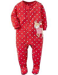Little Girls' 1-Piece Fleece Christmas Pajamas Footie