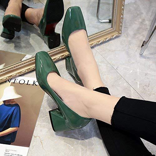 Eeayyygch Court Schuhe Shallow Mund raue Fersen mit mit mit Retro quadratischen Kopf Schuhe Schuhe Schwarze Wilde Arbeitsschuhe (Farbe   34, Größe   Champagne 10CM) 894fcb