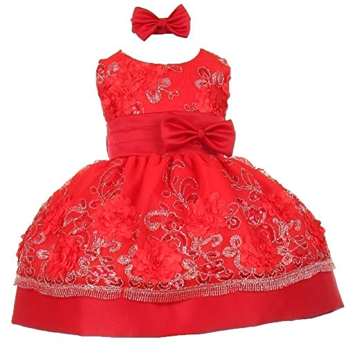 Shanil Inc. Baby Girls Red Sequin Floral Embroidery Flower Girl Christmas Dress 24M from Shanil Inc.