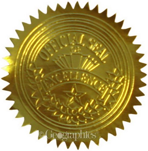 Geographics Gold Embossed Foil Seal, 100 per Pack (Gold Embossed Envelope)