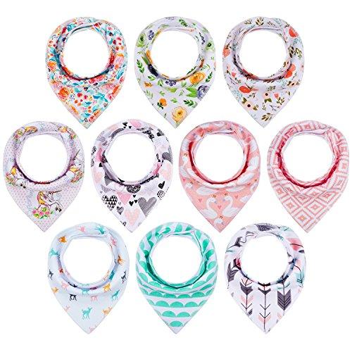 10-Pack Baby Girl Bandana Drool Bibs Gift Set for Drooling Teething by MiiYoung
