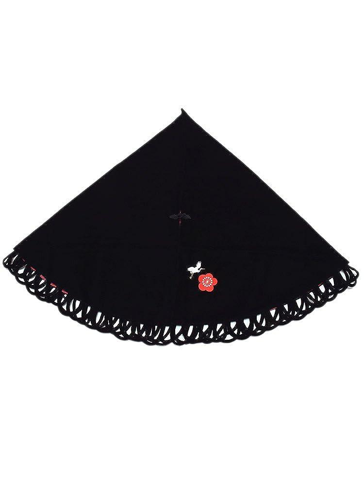 [ 京都きもの町 ] ベルベット ケープ 黒色 鶴と梅の刺繍 日本製 和装コート 着物ケープ ポンチョ B01MSMSXEM