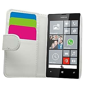 SAMRICK Ejecutivo - Carcasa cartera de cuero para Microsoft Lumia 520, color blanco